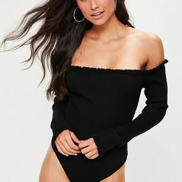 Missguided - Black Bardot Frilled Knitted Bodysuit