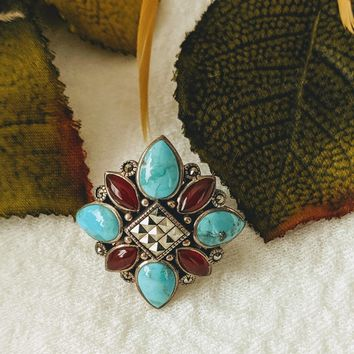 Sterling Silver Turquoise Carnelian Hematite Ring