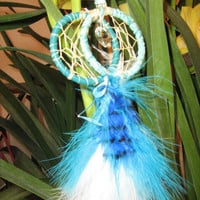 Car Charm Dreamcatcher Glow In The Dark bead,dreamcatcher  in Robin's Egg Blue twist of Royalty on Infinity Ring,beauty,bright