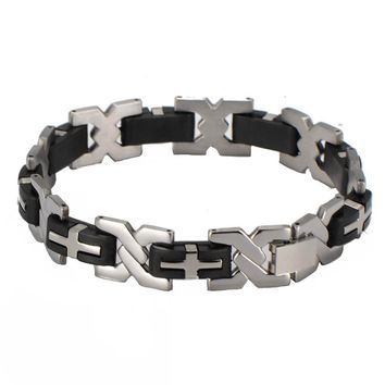 2018 Fashion Silicone Men Bracelet Punk Cross Stainless Steel Bracelets & Bangles Vintage Male Wrist Jewelry Accessories Gift