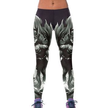 Fashion Print High Waist Yoga Bat Stylish Leggings = 4804286084