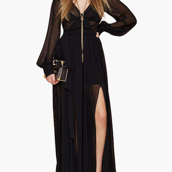 Black V-Neck Long Cuff Sleeve with High Slits Maxi Dress