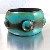 Wide Chunky Lucite Bangle Bracelet, Mod Resin Raised Carved Polka Dot Bracelet, 1990s Turquoise Blue Brown Runway Statement Couture Jewelry