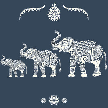 Ornamental Elephants Royal Removable Wallpaper