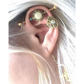 Opal Gold Industrial Barbell Scaffold Piercing