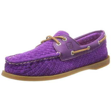 Sperry Womens Authentic Original Suede Woven Boat Shoes