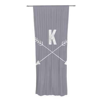 "KESS Original ""Gray Arrow Monogram"" Decorative Sheer Curtain"