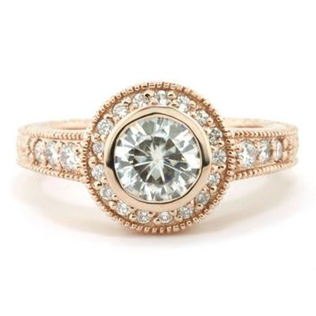 Bezel Set Moissanite Engagement Ring Carved Vintage Style - Kat
