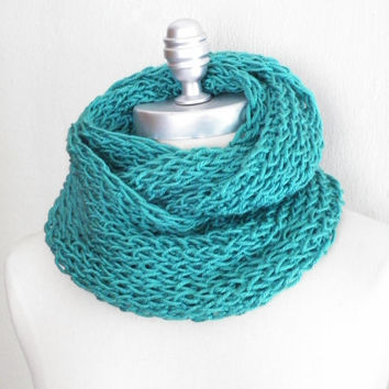 Infinity Scarf, Dark Aqua Seafoam Green Knit Scarf, Loop Scarf, Mobius Scarf, Fashion Knitwear, Fall Essentials