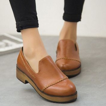 Summer England Style Vintage Round Toe With Heel Korean Casual Zippers Shoes [6366208452]