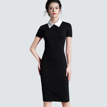Women Clothing Vintage Black Women Formal Work Business Office Short Sleeve Casual Bodycon Sheath Fitted Pencil Dress 751