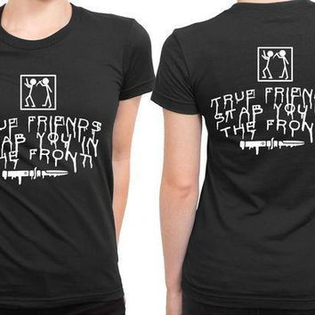 Bring Me The Horizon True Friends Stab You In The Front Stab Illustrations 2 Sided Womens T Shirt