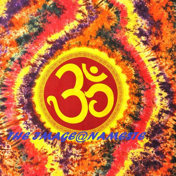 Hippie Tie-dye Wall Hanging,Om Indian mandala Tapestry Throw Bed spread, Dorm Tapestry, Bohemian Tapestry, Vintage Decorative Wall Hanging