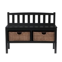 SEI Black Bench with Two Brown Rattan Baskets
