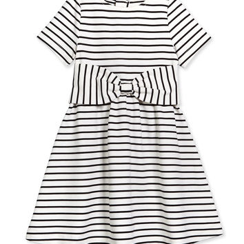 kammy striped stretch-sateen dress, black/white,