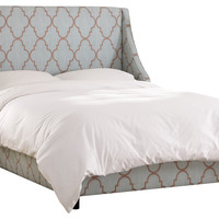 Davis Trellis Wingback Bed, Gray/Brown, Wing Beds