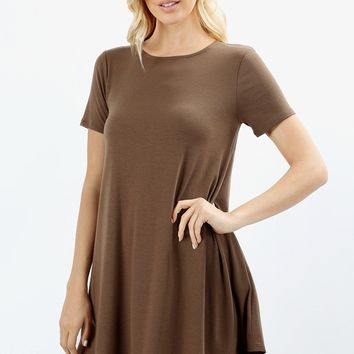 Women's Swing Tunic Dress With Pockets Mocha Brown: S/M/L/XL and 1xl-2xl-3xl