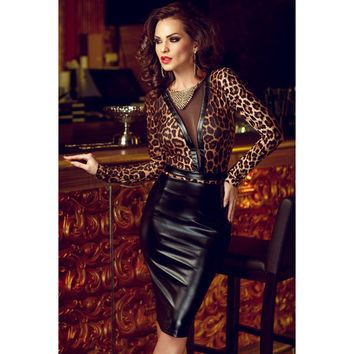 Fashion New Sexy Women Natural Club Dress 2015 Animal Print Leather Splice Long Sleeves Patchwork Midi Black O-neck Dress Free S