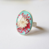 Turquoise Pink White Flower Ring Silver Statement Retro Eco Adjustable Ring