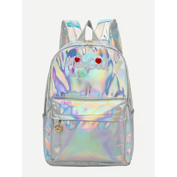 Letter Embroidered Pocket Front Backpack
