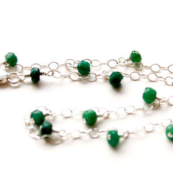 Anklet bracelet with Emerald beads, Genuine Emerald bracelet, May Birthstone, beach style anklet, gemstone anklet, resort style, summer