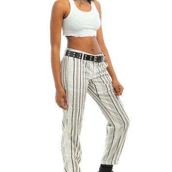 Vintage Y2K Keep it Casual Striped Trousers - S
