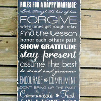 Wood Sign Marriage Rules Typography Wall Art by 13pumpkins