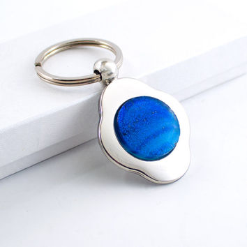 Unique Blue Key Chain, Keyring Holder, Four Leaf Clover Keychain, Fused Glass Cabochon, Cool Mens Gift, 3rd Anniversary, Gift for Her