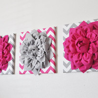 THREE Flower Wall Art Hot Pink and Gray Flower Chevron Home Decor 12 x 12 Baby Nursery Decor