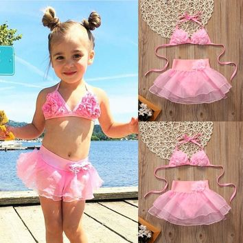 Toddler Kids Baby Girls Tankini Bikini Swimwear Swimsuit Bathing Suit Beachwear Swimming Costume  Summer Sportswear