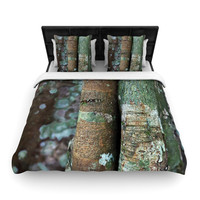 "Susan Sanders ""Into the Woods"" Brown Rustic Woven Duvet Cover"
