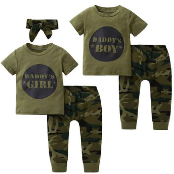 2018 New style baby Boys Girls Clothes set short sleeve letter print T-shirts camouflage Pants Headband Newborn Infant clothing
