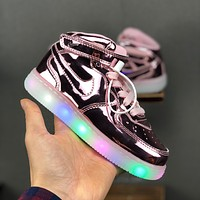 Nike Air Force 1 Mid LED Flashing Toddler Kid Shoes Rose Gold Light Up Child Sneakers - Best Deal Online