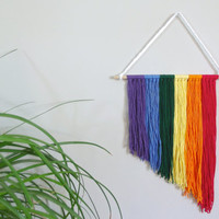 Rainbow Wall Hanging Rainbow Nursery Decor Baby Girl Nursery Baby Boy Nursery Rainbow Home Decor Nursery Wall Hanging Textile Art Fiber Art