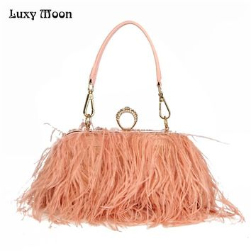 Luxury Moon Designer Ostrich Fur Feather Wallet Clutch Bag 4 Color Options