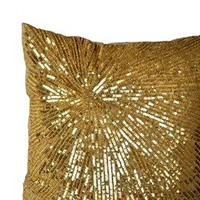 Amore Beaute Decorative Throw Pillow Covers - Gold Pillowcase - Sequin Pillow Covers - Handcrafted Pillow Cover - Silk Toss Pillow - Accent Pillow - Sparkle Pillow - Wedding Gift - Square Pillow Covers