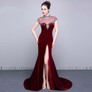 Evening Gowns Side Open Cap sleeve Beads Velvet Mermaid Dresses