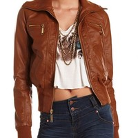Ribbed Trim Motorcycle Jacket: Charlotte Russe