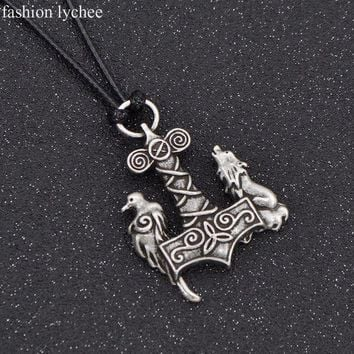 Fashion Lychee Norse Symbols Viking Odin Raven Hammer Mjolnir Wolf Crow Pendant Necklace Rope Chain Amulet Men Jewelry
