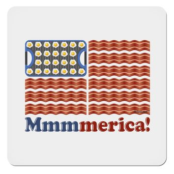 """American Breakfast Flag - Bacon and Eggs - Mmmmerica 4x4"""" Square Sticker"""