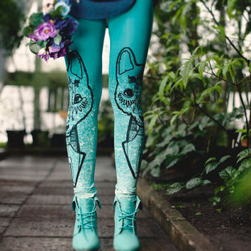 Mint green wolf-  leggings