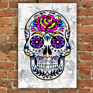 Mexican Sugar Skull Wall Clock Modern Art by MyWallClock on Etsy