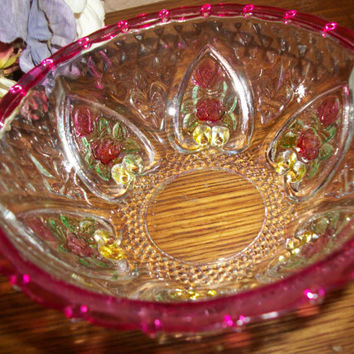 Candy Bowl Clear Pressd Glass Inverted Hearts Red Flowers and Rim Trinket Dish by KIG Indonesia Vintage Tableware