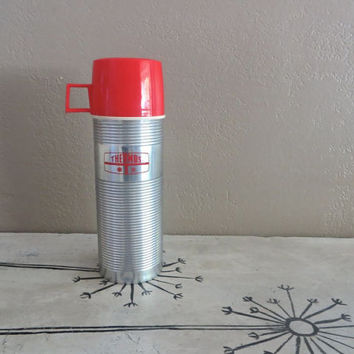 Vintage Thermos Hot Cold Thermos Chrome Thermos with Red Cap Winter Thermos Retro Coffee Thermos Gift For Him Ski Gift Snowmobile Gift