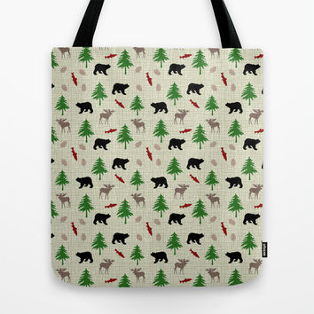 Moose & Bear Pattern Tote Bag by Christina Rollo | Society6