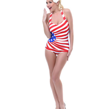 Red, White & Blue Stars & Stripes Ruched Gloria Swimsuit - Unique Vintage - Prom dresses, retro dresses, retro swimsuits.
