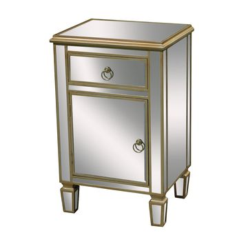 Broadway Cabinet In Clear Mirror And Champagne Silver Leaf