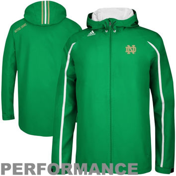 adidas Notre Dame Fighting Irish Sideline Performance Lightweight Full Zip Hooded Jacket - Kelly Green