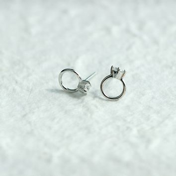 Personalized small diamond ring 925 Sterling Silver earrings,  a perfect gift