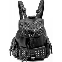 Gothic shop: black leather-look flap backpack with studs